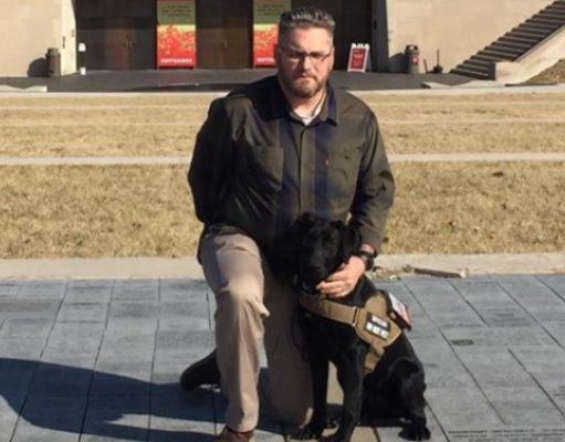 Decorated Marine Retired Accompanied by Canine Companion