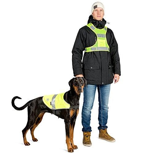 The Friendly Swede Reflective Safety Dog Vest w/ Matching Human Vest