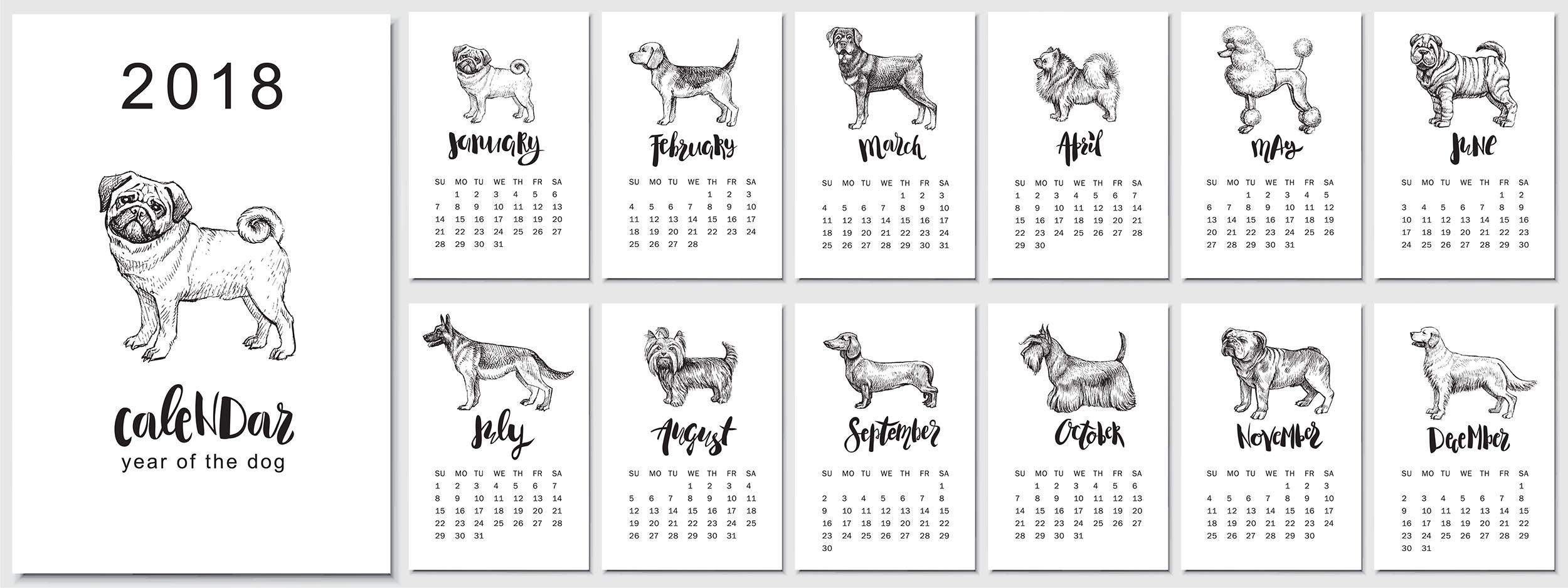 2018 Dog Year Calendar