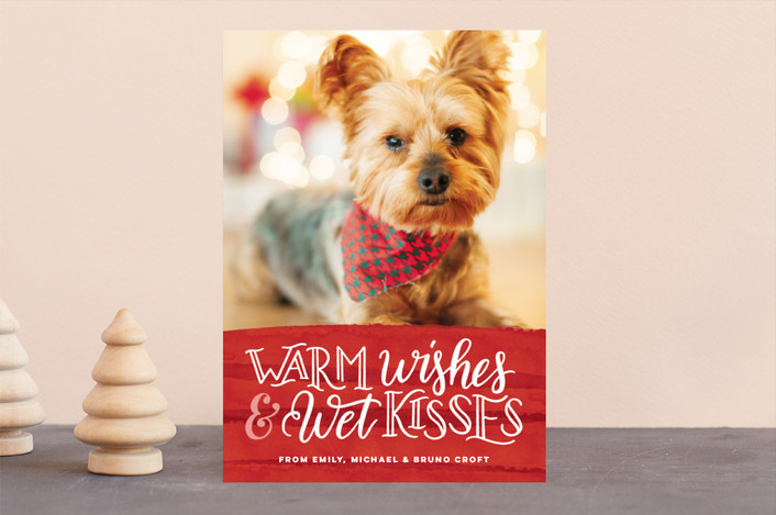 warm wishes wet kisses puppy holiday card - Pet Holiday Cards