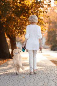 Senior woman walking a dog