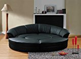 Vig Furniture Modern Black Leather Circular Sectional Sofa Circle