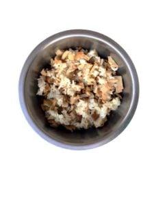 Homemade dog food with rice