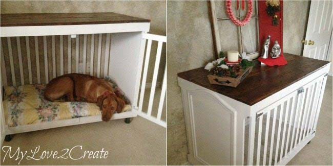 Old Crib as Homemade Dog Bed