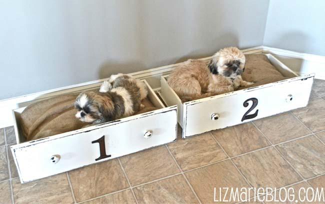 Old Dresser Drawers as DIY Dog Bed