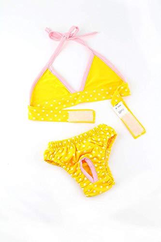 Midlee Yellow Polka Dot Dog Bikini